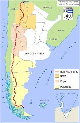 Kaart van Ruta 40