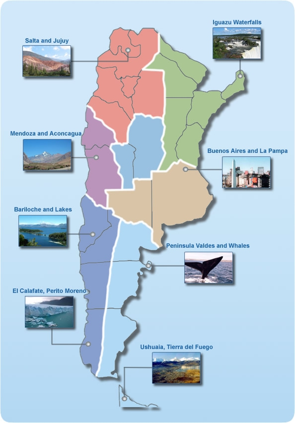 tourist map Argentina